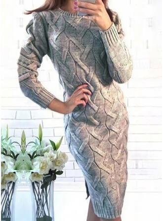 Jednolity Prążkowana dzianina Okrągły dekolt Casual Długie Dopasowany Sukienka sweterkowa