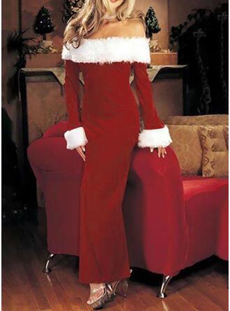 Jednolita Długie rękawy Pokrowiec Boże Narodzenie/Przyjęcie Maxi Sukienki