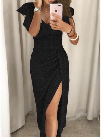Jednolity cekiny Krótkie rękawy Ruffle Sleeve Pokrowiec Mała czarna/Impreza/Elegancki Midi Sukienki