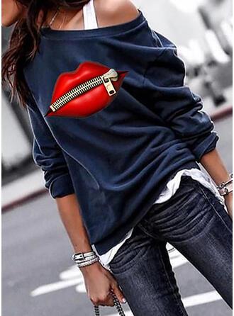 Wydrukować One Shoulder Długie rękawy Bluza