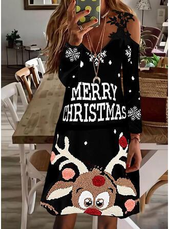 Boże Narodzenie Nadruk/Wytłaczany/Zwierzę Koronka Długie rękawy cold ramion rękaw Suknie shift Nad kolana Impreza Sukienki