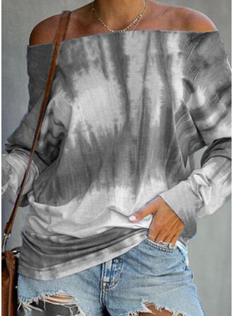 Tie Dye Off the Shoulder Long Sleeves Casual Blouses