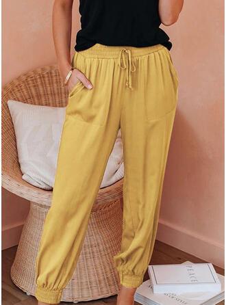 Shirred Drawstring Long Boho Casual Pants