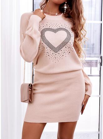 Nadruk/Serce Długie rękawy Dropped Shoulder Pokrowiec Nad kolana Nieformalny Sweter Sukienki