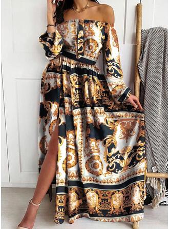 Nadrukowana Długie rękawy W kształcie litery A Łyżwiaż Wintage/Przyjęcie/Boho Maxi Sukienki