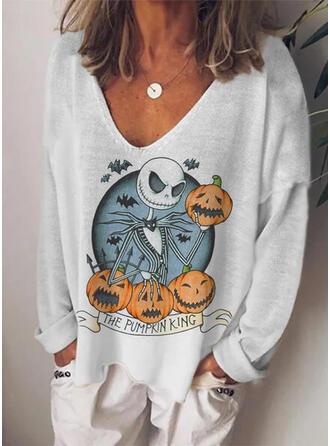 Halloween Nadruk Dzianina Dekolt w kształcie litery V Długie rękawy T-shirty