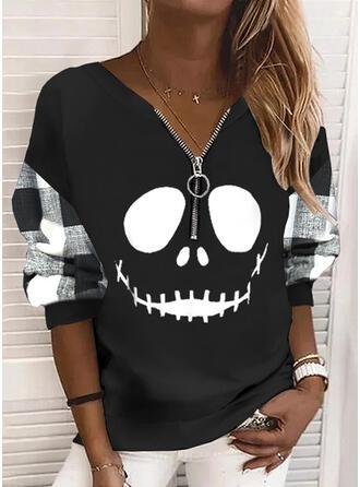 Halloween Nadruk W kratę Dekolt w kształcie litery V Długie rękawy Bluza