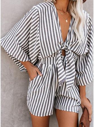 Striped V-Neck 3/4 Sleeves Elegant Romper