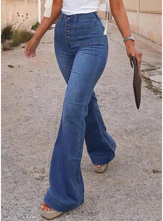 Pockets Shirred Elegant Vintage Denim & Jeans