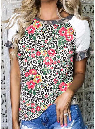 Floral Leopard Print Round Neck Short Sleeves T-shirts