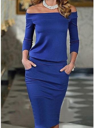 Jednolita Rękawy 3/4 Bodycon Seksowna/Elegancki Midi Sukienki