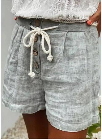 Jednolity Nad kolanem Nieformalny Wakacyjna Duży rozmiar shirred drawstring Przycisk Spodnie Szorty