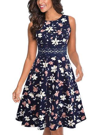 Koronka/Nadrukowana/Kwiatowy Bez rękawów W kształcie litery A Długośc do kolan Casual Sukienki