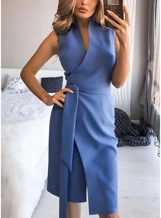 Solid Sleeveless Sheath Knee Length Casual Wrap Dresses