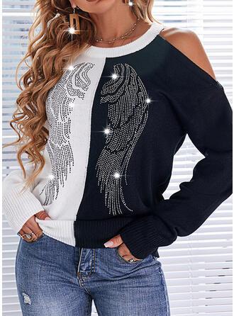 Nadruk Blok Koloru Na jedno ramię Nieformalny Swetry