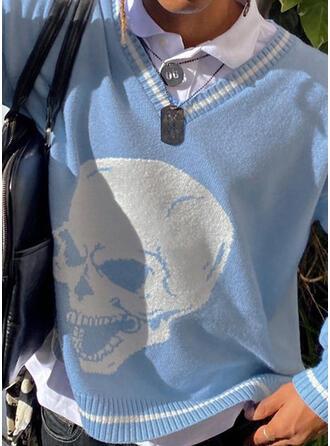 Halloween Nadruk Skull Head Dekolt w kształcie litery V Nieformalny Swetry