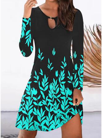 Nadruk Długie rękawy Suknie shift Długośc do kolan Nieformalny Tunika Sukienki