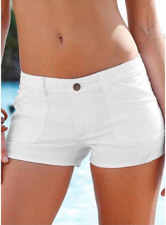 Jednolity Nad kolanem Seksowny Duży rozmiar Pocket Przycisk Spodnie Szorty