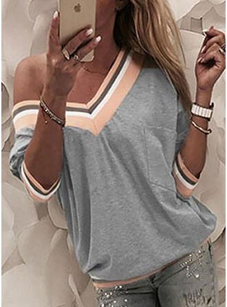 Prążki Na jedno ramię Rękaw 3/4 Casual T-shirty