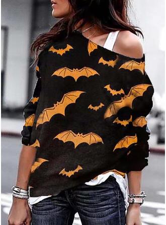 Halloween Nadruk Zwierzę Na jedno ramię Długie rękawy Bluza