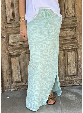 Cotton Blends Print Floor Length Pencil Skirts