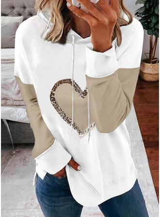Nadruk Blok Koloru Serce Długie rękawy Bluza z kapturem