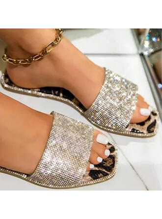 Women's PU Flat Heel Sandals Flats Peep Toe Slippers Round Toe With Buckle Crisscross shoes