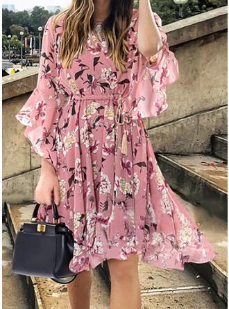 Nadrukowana/Kwiatowy Długie rękawy/Rozkloszowane rękawy W kształcie litery A Długośc do kolan Casual/Wakacyjna Sukienki