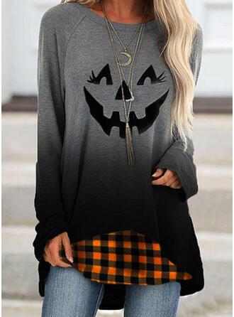 Halloween Nadruk Gradient W kratę Okrągły dekolt Długie rękawy Bluza