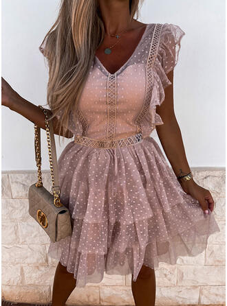 Lace/PolkaDot Short Sleeves A-line Above Knee Casual Skater Dresses
