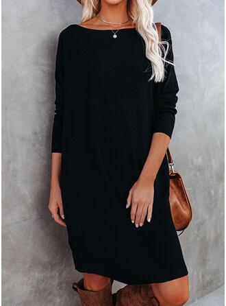 Jednolita Długie rękawy Koktajlowa Nad kolana Mała czarna/Casual Tunika Sukienki
