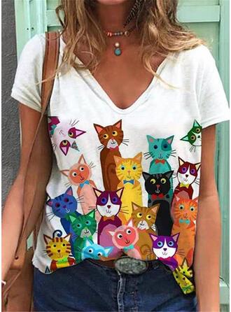 Nadruk Kreskówka Dekolt w kształcie litery V Krótkie rękawy T-shirty