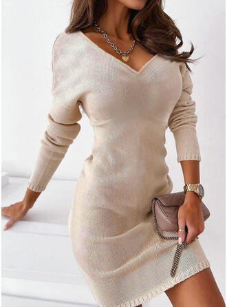 Jednolity Dzianina Długie rękawy Dropped Shoulder Pokrowiec Nad kolana Nieformalny Sweter Sukienki