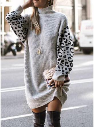 Blok Koloru lampart Golf Nieformalny Sukienka sweterkowa