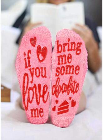 Floral/Letter Warm/Women's/Crew Socks/Non Slip/Valentine's Day Socks