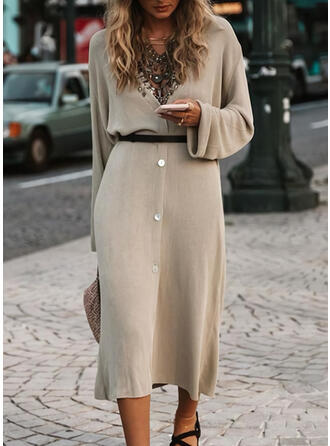 Jednolita Długie rękawy Pokrowiec Sweter Casual Midi Sukienki