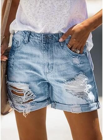 Jednolity Nad kolanem Nieformalny Zabytkowe Duży rozmiar Pocket Ripped Przycisk Spodnie Szorty Dżinsy