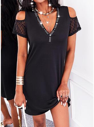 Jednolity Krótkie rękawy cold ramion rękaw Suknie shift Nad kolana Mała czarna/Nieformalny Tunika Sukienki