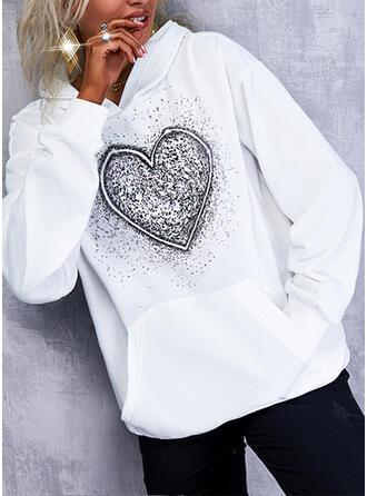 Nadruk Serce Bluza z kapturem Długie rękawy Bluza z kapturem