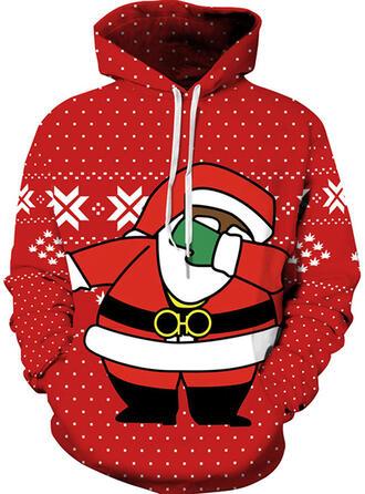 Unisex Mieszanki bawełny Wydrukować Święty Mikołaj Świąteczna bluza