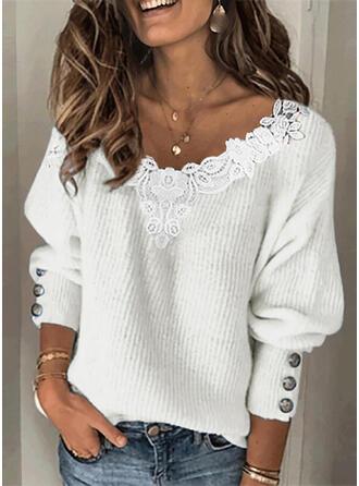Jednolity Koronka Dekolt w kształcie litery V Nieformalny Swetry