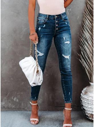 Jednolity Długo Nieformalny Duży rozmiar Pocket shirred Ripped Spodnie Dżinsy