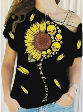 Nadruk słonecznika Na jedno ramię Krótkie rękawy T-shirty