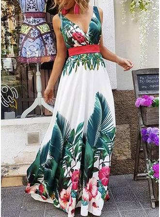 Nadrukowana/Kwiatowy Bez rękawów W kształcie litery A Przyjęcie/Wakacyjna Maxi Sukienki