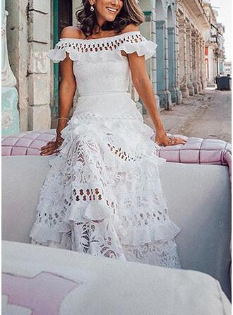 Koronka/Jednolita Krótkie rękawy W kształcie litery A Casual/Elegancki/Wakacyjna Maxi Sukienki
