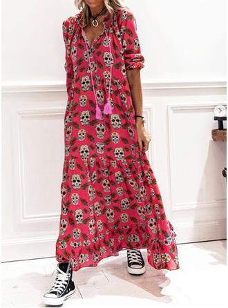 Nadrukowana Rękawy 1/2 Koktajlowa Casual Maxi Sukienki