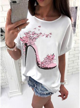 Nadruk Kwiatowy Okrągły dekolt Rękaw 1/2 Casual T-shirty