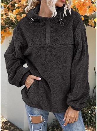 Jednolity Bluza z kapturem Długie rękawy Bluza z kapturem