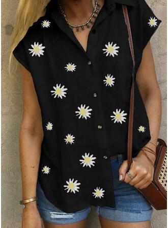 Nadruk Kwiatowy Klapa Krótkie rękawy Zapięcie na guzik Casual Bluski koszulowe