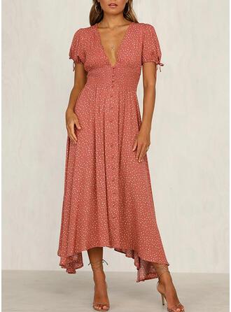 Nadrukowana Krótkie rękawy W kształcie litery A Casual/Elegancki Midi Sukienki